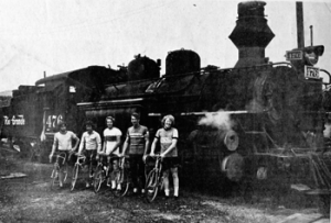 iron horse bikers in from of durango train